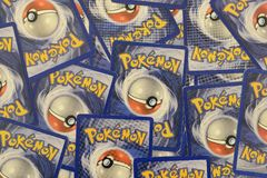 Pokemon trading cards background. Stockholm, Sweden - December 12, 2016: Pokemon trading cards background. Illustrative Editorial royalty free stock images