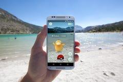 Pokemon VA incontro alla riva del lago Immagini Stock