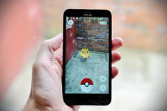 Pokemon va jugador Imágenes de archivo libres de regalías