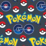 Pokemon vai com teste padrão sem emenda das bolas ilustração stock