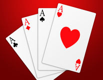 Poker (06). Illustration of the four aces signs of poker on red background Stock Photo