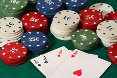 Poker 1. Casino scene with poker cards royalty free stock photo