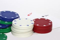 Poker. Chip and Cards Aces Stock Image