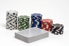 Poker. Deck of cards and poker chips stock photography