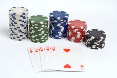 Poker. Flush poker hand with chips stock images