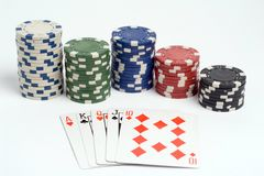 Poker. A Straight poker hand with chips royalty free stock images