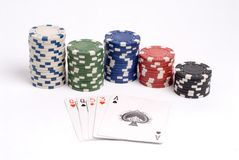 Poker. A pair Queens hand with chips royalty free stock photo