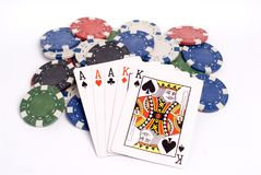 Poker. Full house poker hand with chips royalty free stock photos