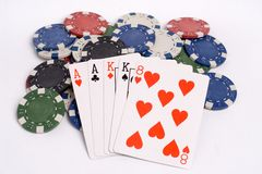 Poker. Two pair poker hand with chips stock image