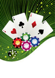 Poker. Colorful poker chips and cards on green background vector illustration