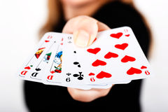 Poker. Hand with full house royalty free stock photo