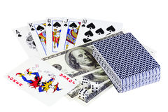 Poker. Playing cards, money and dice on a white background royalty free stock photos