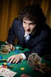 Poker. A stroke of luck playing poker. The guy cleaned all out Stock Image