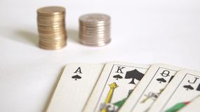 Poker. Cards with some money royalty free stock image