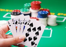 Poker. A royal straight flush playing cards poker Royalty Free Stock Image