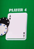 Poker. Aces blank playing card on green background Royalty Free Stock Images