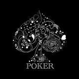 Poker. Vector vintage black and white poker pattern vector illustration