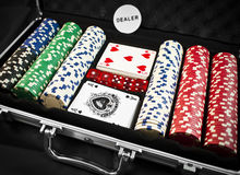 Poker. Kit with chips and cards Stock Photography