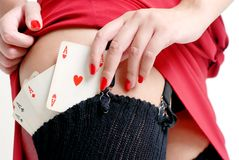 Poker. Sexy woman have poker cards in her stocks Stock Photos