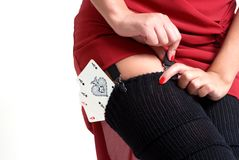 Poker. Sexy woman have poker cards in her stocks Royalty Free Stock Images