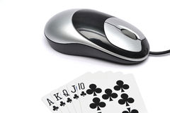 Poker. Internet/online poker concept, with winning hands Stock Images