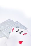 Poker. Foto of 4 ace while a pokergame royalty free stock photos