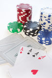 Poker. Foto of 4 ace while a pokergame stock photos