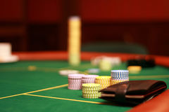 Poker. Chips on a poker table Royalty Free Stock Image