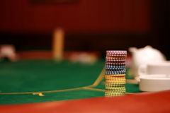 Poker. Chips on a poker table Stock Photography