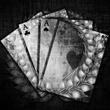 Poker. Playing card with an integrated silver wreath Royalty Free Stock Images