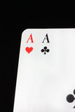Poker. Two aces in a texas hold em game Stock Image