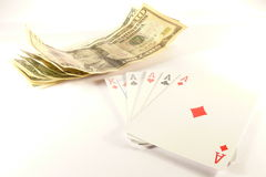Poker. Isolated photo of dollars and cards over white Stock Images