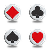 Poker. Illustration icons or buttons of the four signs poker Stock Images