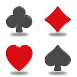 Poker. Illustration icons or buttons of the four signs poker Stock Photography