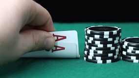 Poker Ace. A poker player is showing his pocket cards, Aces stock video footage