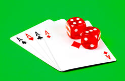 Poker ace and dice. Four poker aces with dice Stock Photos