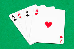 Poker of aces Stock Photos