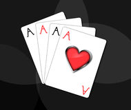 Poker - aces. Very nice hand in poker - 4 aces (playing cards Stock Photo