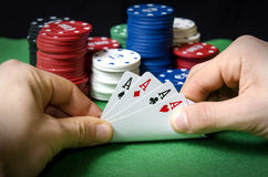 Poker of aces Stock Images