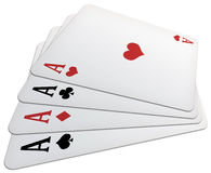 Poker of aces!. Illustration of a poker of aces, with heart's card in evidence and isolated on a white backround Royalty Free Stock Photo