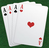 Poker of aces!. Illustration of a poker of aces. Green table background Stock Images