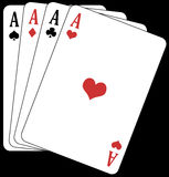Poker of aces!. Illustration of a poker of aces, on a black background Stock Images