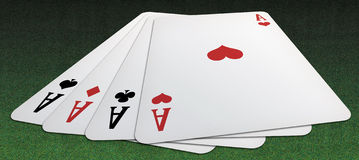 Poker of aces from above. Panoramic illustration from above of a poker of aces, on a green table backround royalty free illustration