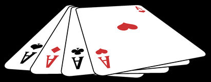 Poker of aces from above. Panoramic illustration from above of a poker of aces, on a black background Royalty Free Stock Photography