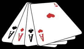 Poker of aces from above. Panoramic illustration from above of a poker of aces, on a black background vector illustration