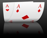 Poker aces on black Royalty Free Stock Photography