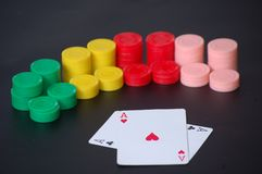 Poker aces and chips Royalty Free Stock Photo