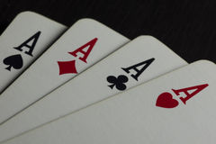 Poker. Aces of hearts, diamonds, clubs and spades Royalty Free Stock Images