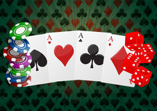Poker aces. Illustration of aces cards playng with chips and dice Royalty Free Stock Photos