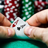 Poker Aces pair. Hands with a pair of aces stock images